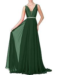 Topkleider Damen Sexy Rot V-Neck A-Linie 2019 Stein Chiffon Abendkleider  Lang Partykleider e6f943ee8b