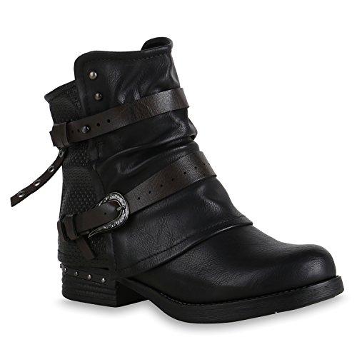 Stiefelparadies Donna Stivaletti Bassi Biker Boots Foderata Rivetti Fibbie 153619 Nero 41 F