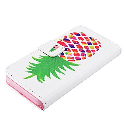 HB-Int 3 en 1 PU Cuir Housse Etui pour Apple iPhone SE / 5 / 5S Plume Originale Motif Coque Protecteur Stand Fonction Couverture avec Fenêtre pour Photos Flip Wallet Cover Case Card Slots Book Style C Ananas