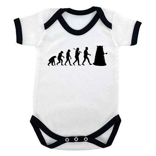 Evolution of a Cyborg Mutant Design Baby Body mit Schwarz Kontrast Rand und schwarz print Gr. 6-12 Monate, schwarz