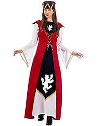 Medieval Edelfräulein Dress Women's 2-Piece Dress, Hat Carnival Red