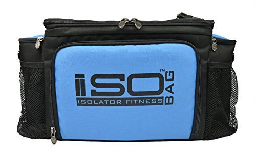2nd Gen Isobag 6 Meal Management System/Lt Blue Accent/Black/Lunch Bag/Insulated Lunch Box-Isolator Fitness by Isolator Fitness (6 Isobag Meal-system)