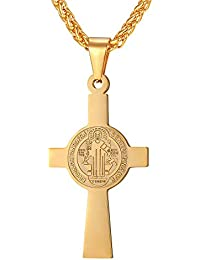 089051ff225 U7 Collier Croix de Saint Benoît Chaîne et Pendentif en Acier Inoxydable  Bijoux Religieux pour Homme