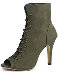 Minetom Mujer Verano Sandalias de Tacón Alto Moda Gamuza Abierto Peep Toe Zapatos De Fiesta Oficina Talla Grande Botas Botines de…