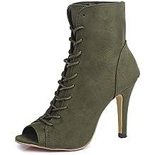 Minetom Mujer Verano Sandalias de Tacón Alto Moda Gamuza Abierto Peep Toe Zapatos De Fiesta Oficina