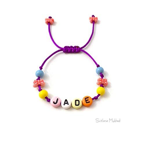 Personalisiertes Armband mit Nachricht JADE (Name, Vorname, Logo, Nummer) für Erwachsene, Kinder, Babys, Neugeborene (Jade-armband Für Baby)