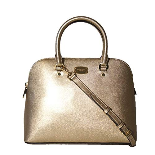 Michael Kors Cindy Large Dome Satchel MK Signature Shoulder Bag Purse Handbag (Pale Gold) -
