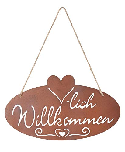 kommen Rost Herz 28,5x16cm Edelrost Garten-Deko Rostdeko Türschild Wandbild Wandschild ()