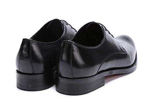 SHIXR Herren Neue Business Schuhe Große Größe 45 British Trend Hochzeit Schuhe Kopf Oxford Low-Top Leder Schuhe Black