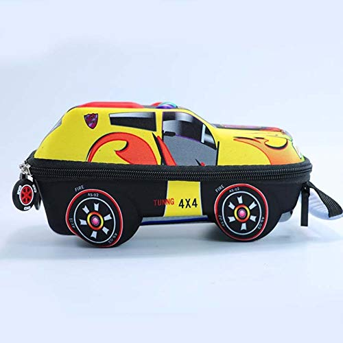 Khdjh zaino per bambini 3d cartoon car school bag bella zaino per bambini hard shell scuola borse per ragazza bambino zaino per ragazzo giallo