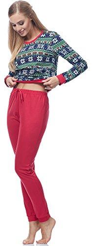 Ladeheid Damen Schlafanzug LA40-103 Muster-3 Rot