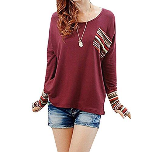 Sunnywill Womens Long Sleeve Runde Hals lose Hemd Bluse Tops für Mädchen Damen (S, Rot) (Jahre Langarm 80er)