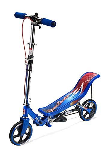 Space Scooter X580 Blau Push Board Pump Action Kinderroller mit Handbremse, Luftfederung und Compact Faltbar.