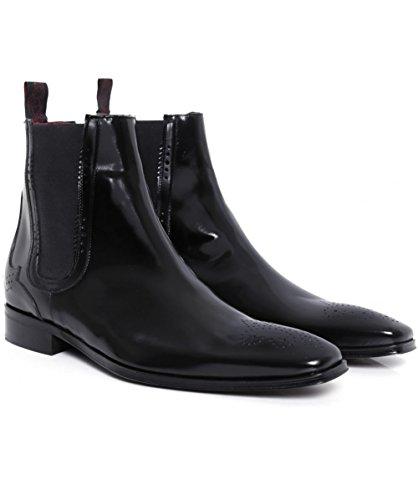 Jeffery-West Hommes Scarface Chelsea bottes en cuir Noir Noir