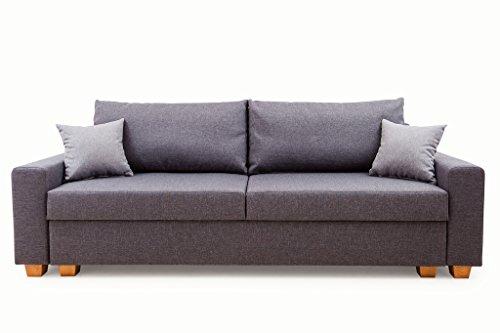 Bozen Bettfunktion und Bettkasten Schlafsofa, Stoff, Anthrazit, 86 x 230 x 95 cm