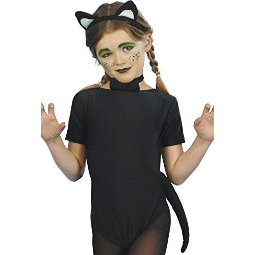 NET TOYS Katzenkostüm Kinder Katzen Set Schwarz ab 4 Jahre Katzenset Kostüm Set Kinderfasching Kinderkostüm Fasching Karneval