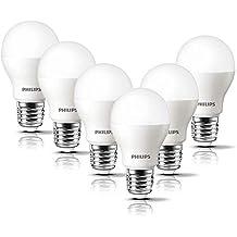 Philips Bombilla LED esférica casquillo E27, 8 W, equivalente a 60 W, luz blanca cálida, 806 lúmenes, pack de 6