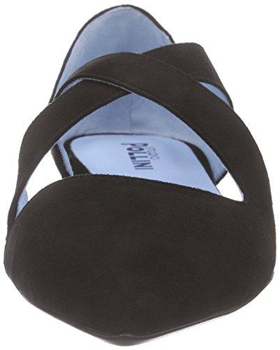 Pollini Scarpad.tunit10 Cam.nero+nero, Sandales  Bout ouvert femme Noir - Schwarz (00A BLACK SUEDE)