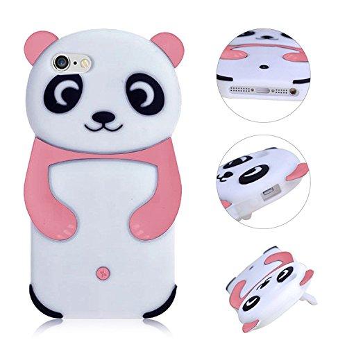 3D Mignon Panda Coque pour iPhone 6S Plus étui de Protection Housse,MingKun iPhone 6 Plus 5.5 Pouces Case Cover TPU Silicone Coque Haute qualitie Silicone Confortable Doux au Animé Animal Style Couver Panda-Rose