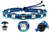 KulturGUT-shop Halsband (39cm - 49cm) - mit EM Perlen, aus Paracord Seil geknüpft mit stylischen Schmuckelementen, für Hunde und Katzen. Blau/Türkis Nr.10