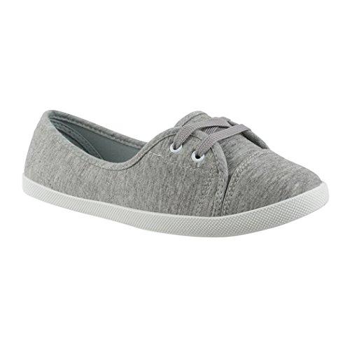 Elara Damen Ballerinas | Bequeme Sneaker Slipper | Schnürer Halbschuhe | sportlich Flats | Chunkyrayan | 3955A Grey-39