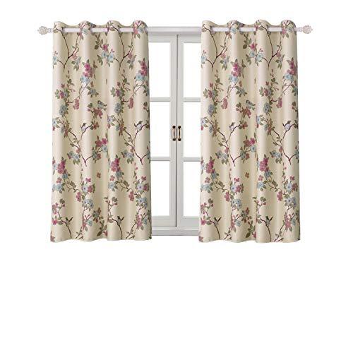 Bgment tende oscuranti con occhielli 2 pannelli stampa uccelli orientali fortunati e fiori motivo per sala/ufficio/camera da letto (2 x 117 x 137cm(l×a),beige)
