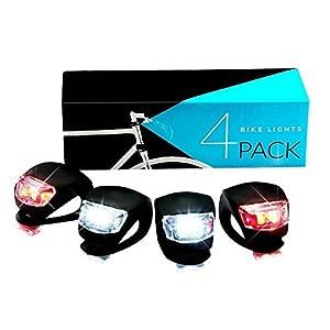 4pc Fahrradscheinwerfer (Weiß)+Fahrradrücklichter(rot) LED Silikon Fahrradlicht,Silikon LED Fahrradlampe,Rücklicht,Fahrradlichter Set Push Clip,Fahrräder Nacht Blinklicht,Kinderwagen Clip Lampe