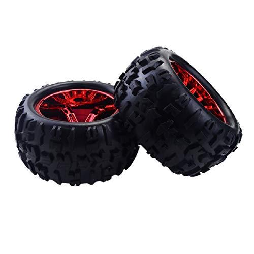 Unbekannt Baoblaze 2 Stück RC Auto Felge und Reifen Räder für Traxxas HSP 1:8 Monster Truck - Rot
