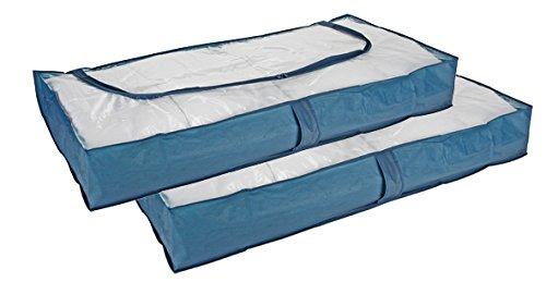 2er-Set Unterbettkommode, Kleideraufbewahrung, Kommode, blau