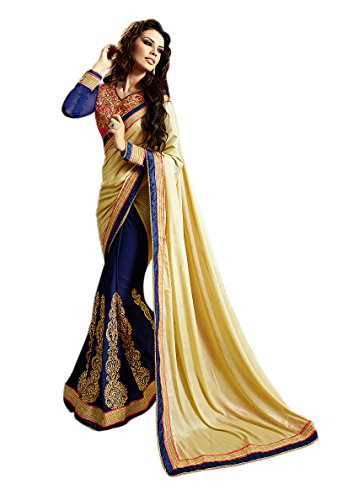 Fashions World Elegant Blue and Beige Embroidered Saree  available at amazon for Rs.1099