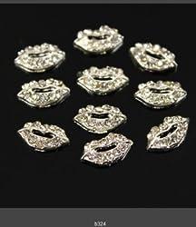 350buy 10pcs Fashion 3D Silver Alloy Lip Rhinestones For Nail Art Tips DIY Decoration by 350buy