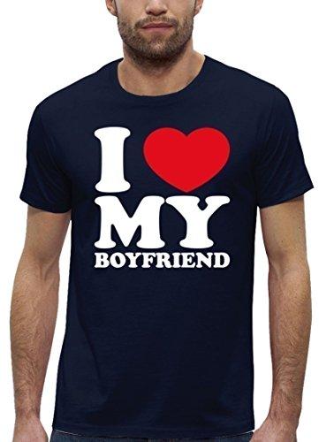 Valentinstag Premium Herren T-Shirt aus Bio Baumwolle I LOVE MY BOYFRIEND Stanley Stella Navy