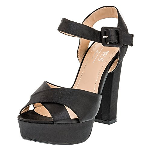 W.S Shoes Damen Sandaletten Plateau Stiletto Sandalen High Heels in Vielen Farben M364sw Schwarz 39 (Top Heel Satin Stiletto)