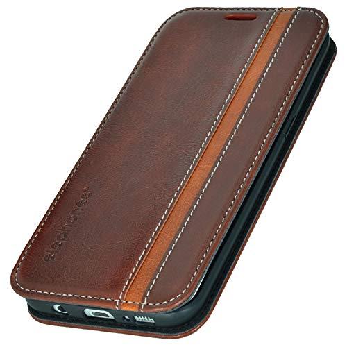 elephones® Handyhülle für Samsung Galaxy S7 Edge Hülle - Kompatibel mit Galaxy S7 Edge Schutzhülle Handy-Tasche Flip Case Cover Braun/Braun