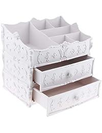 B Blesiya Caja de Almacenaje con Cajones para Cosméticos Joyas, Plástico - Cajones blancos
