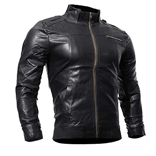 Zolimx Herren Motorrad Faux Lederjacke Outwear Tops Casual Zip Jacket Herbst Winter Reißverschluss...