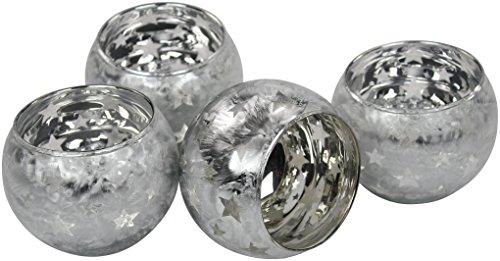 Decoline Teelicht-Gläser 4 Stück Silber klein 7x7cm