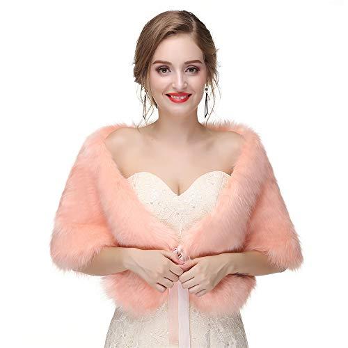 Sciarpa scialle nuziale di lusso copricapo da sposa da donna scialle in pelliccia sintetica da donna mantelle avvolte in stola mantello con mantella cappotto in maglina per la festa nuziale abiti da s