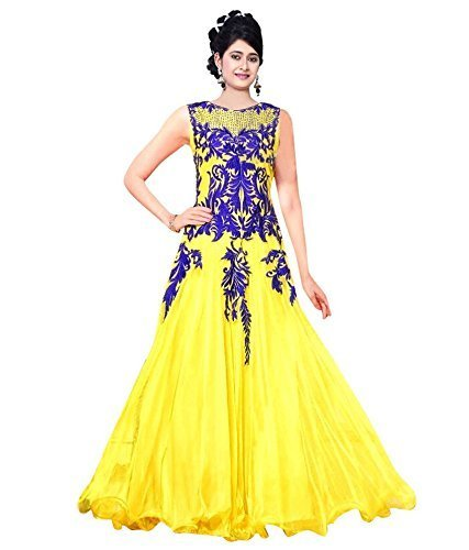 SS Global Women's Faux Georgette Anarkali Suit Dress Material (Yellow_HNSKRSM...  available at amazon for Rs.499