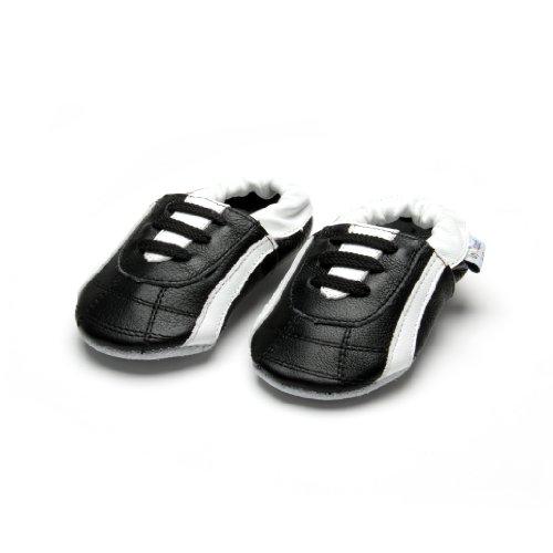 Kinderschuhe - Hausschuhe - Sport - Jinwood soccer black - soft sole - Lederpuschen - Baby - Kinder Schuhe Schwarz