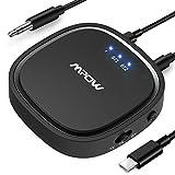 Mpow Trasmettitore e Ricevitore Bluetooth 5.0, Bluetooth 2 in 1 Adattatori con Bassa Latenza e aptX HD, Supporto 3,5 mm Audio con Gamma 15m, Doppio-Link per TV, Cuffie, Casa e Car Audio Sistema