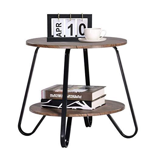 Klein Couchtisch Kaffeetisch Beistelltisch Vintage 2 Ebenen Wohnzimmertisch Modern Industriell Nachttisch für Schlafzimmer Rund Sofatisch Holz Metall Braun -