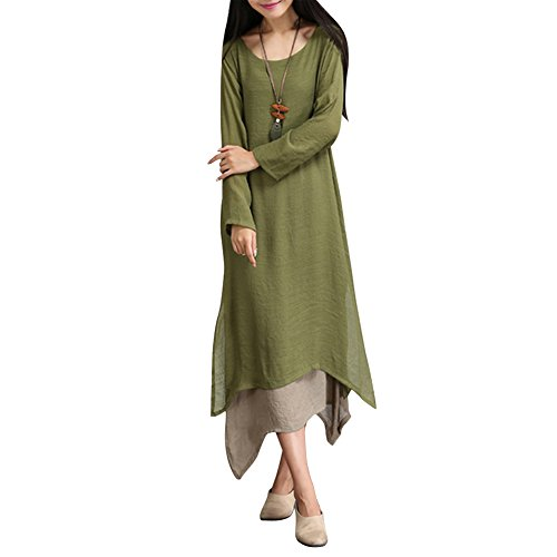 Rrimin Women Long C Maxi Evening Party Dress Linen Cotton Dresses XXL Army Green