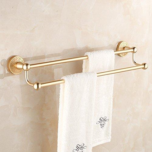ZHGI Bianco e oro asciugamano spazio rack in alluminio di antiquariato Europeo bagno accessori hardware asciugamano doppio ripiano