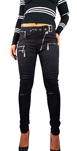 Damen Skinny Biker Style schwarz, Größe:S-Maße beachten, Farbe:Schwarz (Skinny Girls Look Good In Clothes)