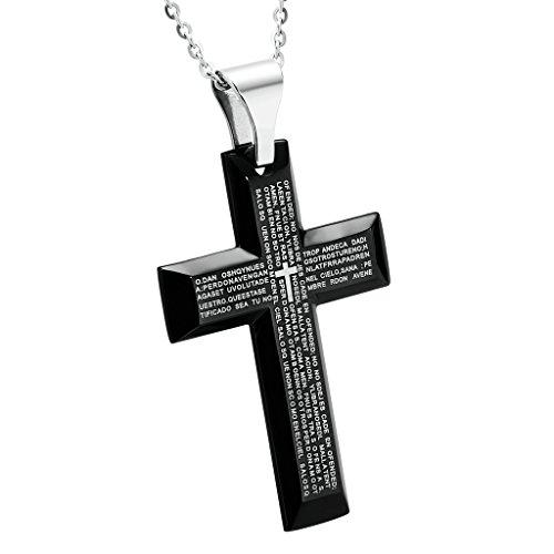 KnBoB Mode Schmuck Edelstahl Halsketten Kreuz Gebet Schwarz Anhänger Kette für Männer, 4.1x6CM