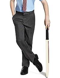 EX M&S Boys Grey School Trousers Adjustable Waist Pull Up Pocket 2-16 Yrs