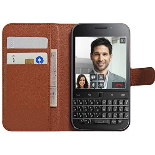 BlackBerry Classic Hülle, HualuBro [Standfunktion] [All Aro& Schutz] Premium PU Leder Wallet Tasche Schutzhülle Case Flip Cover mit Karten Slot für BlackBerry Classic Smartphone (Braun)