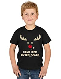 VERI Jungen Shirt zu Nikolaus Geschenk Idee Nikolaustag RENTIER RUDOLPH Rentiergeweih mit der roten Nase Weihnachtsshirt T-Shirt Jungs Kindershirt Weihnachtsmotiv Advent in schwarz : )