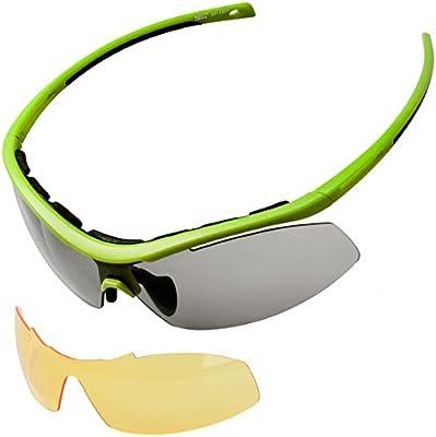 Meetlocks Integradoras fotocromáticos gafas de sol deportivas, marco TR90, 2 lentes intercambiables, incluyendo 1 que cambia de color Lense y 2 Lense anti-vaho, para todos los deportes al aire libre